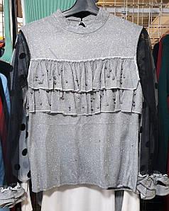 Люрексовая блузка с прозрачными рукавами 42-44 (в расцветках)