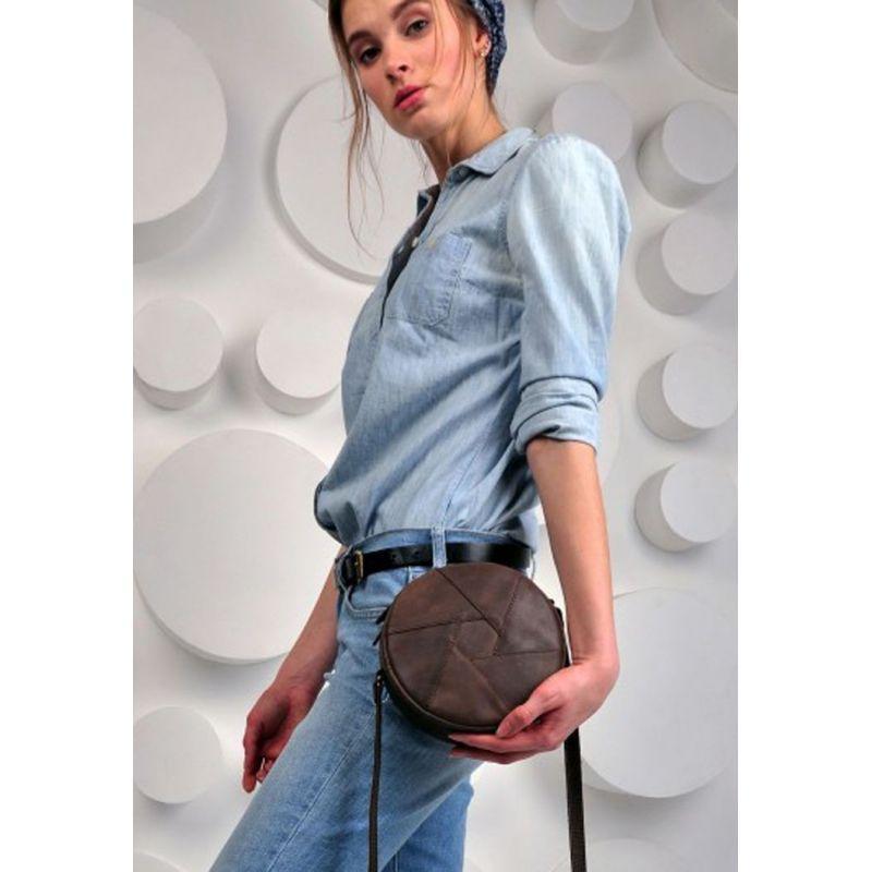 Кожаная круглая женская сумка Бон-Бон темно-коричневая