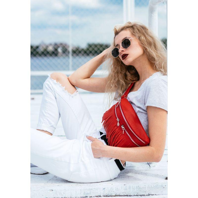 Кожаная женская сумка на пояс Spirit красная