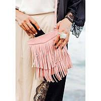 Кожаная женская сумка с бахромой мини-кроссбоди Fleco розовая, фото 1