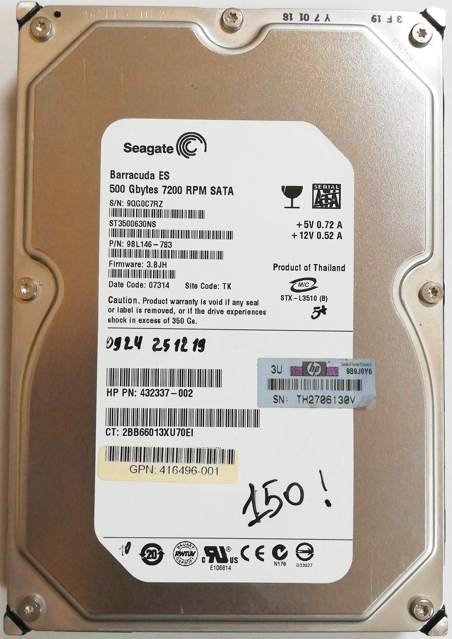 "Жесткий диск для компьютера Seagate Barracuda ES 500GB 3.5"" 16MB 7200rpm 3Gb/s (ST3500630NS) SATAII Б/У"