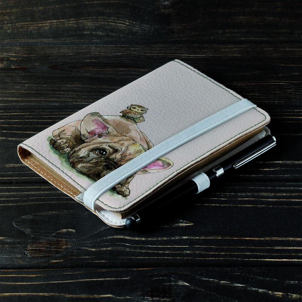 Обложка на блокнот v.2.0. A6 Fisher Gifts 879 Сова верхом на щенке (эко-кожа)
