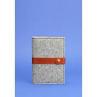 Фетровая обложка для паспорта 1.1 с кожаными коричневыми вставками