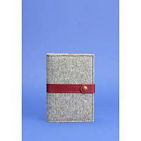 Фетровая обложка для паспорта 1.1 с кожаными бордовыми вставками