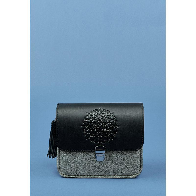 Фетровая женская бохо-сумка Лилу с кожаными черными вставками