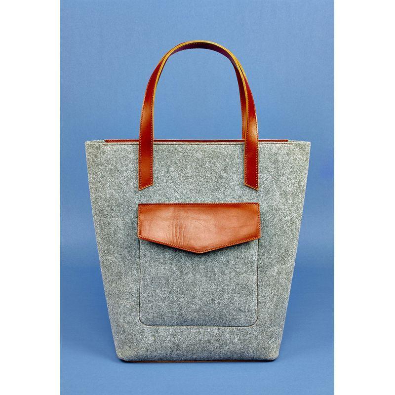 Фетровая женская сумка Шоппер D.D. с кожаными коричневыми вставками