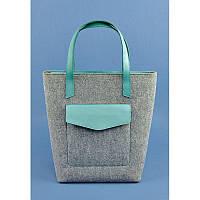 Фетровая женская сумка Шоппер D.D. с кожаными бирюзовыми вставками, фото 1