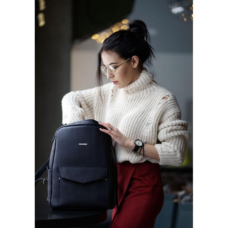 Кожаный городской женский рюкзак на молнии Cooper темно-синий