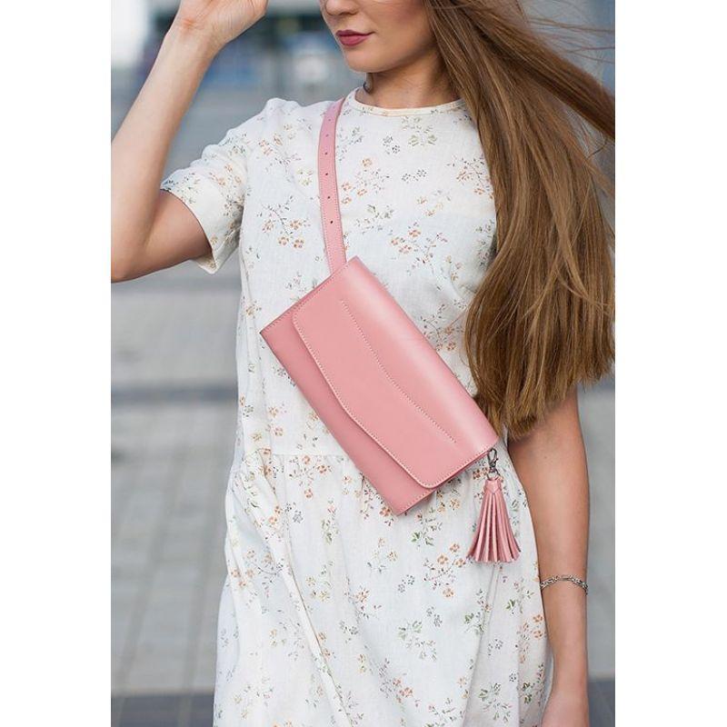Кожаная женская сумка Элис розовая