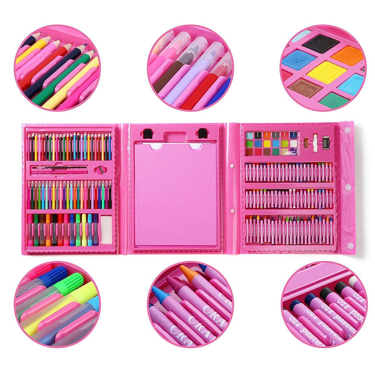 Набор для рисования с мольбертом 176 предметов розовый