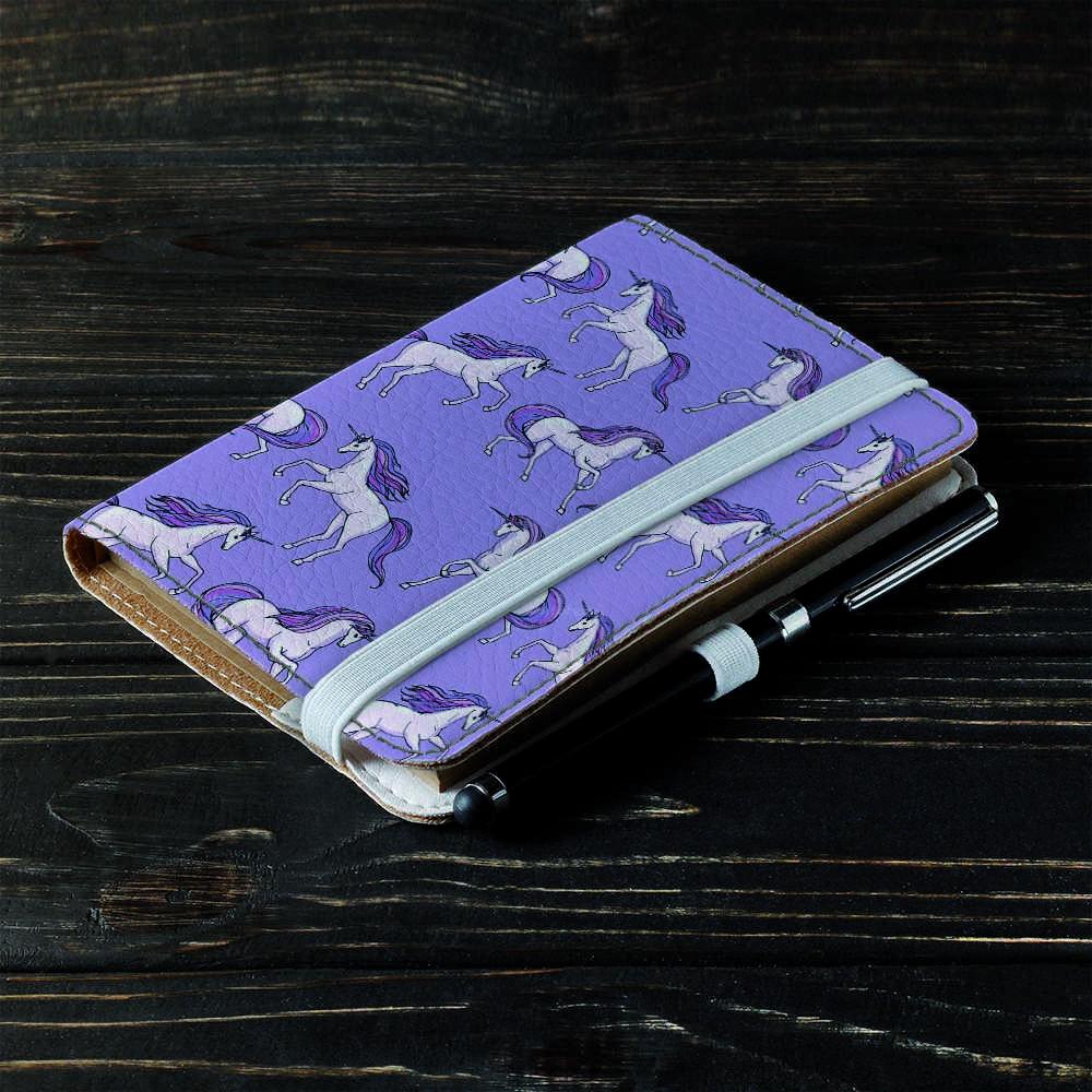 Обложка на блокнот v.2.0. A6 Fisher Gifts 999 Фиолетовые единороги (эко-кожа)