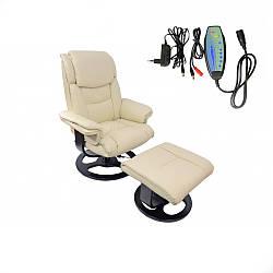 Массажное офисное кресло с подножником Bonro 5099 Beige до 120 кг