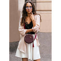 Круглая кожаная женская сумочка Tablet Марсала, фото 1