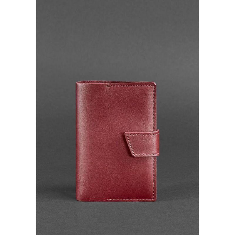 Кожаная обложка для паспорта 4.0 бордовая