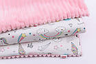 Плед в кроватку (сатин и плюш), на молнии, розовый, с единорогами, без одеяла, 80*100 см, фото 2