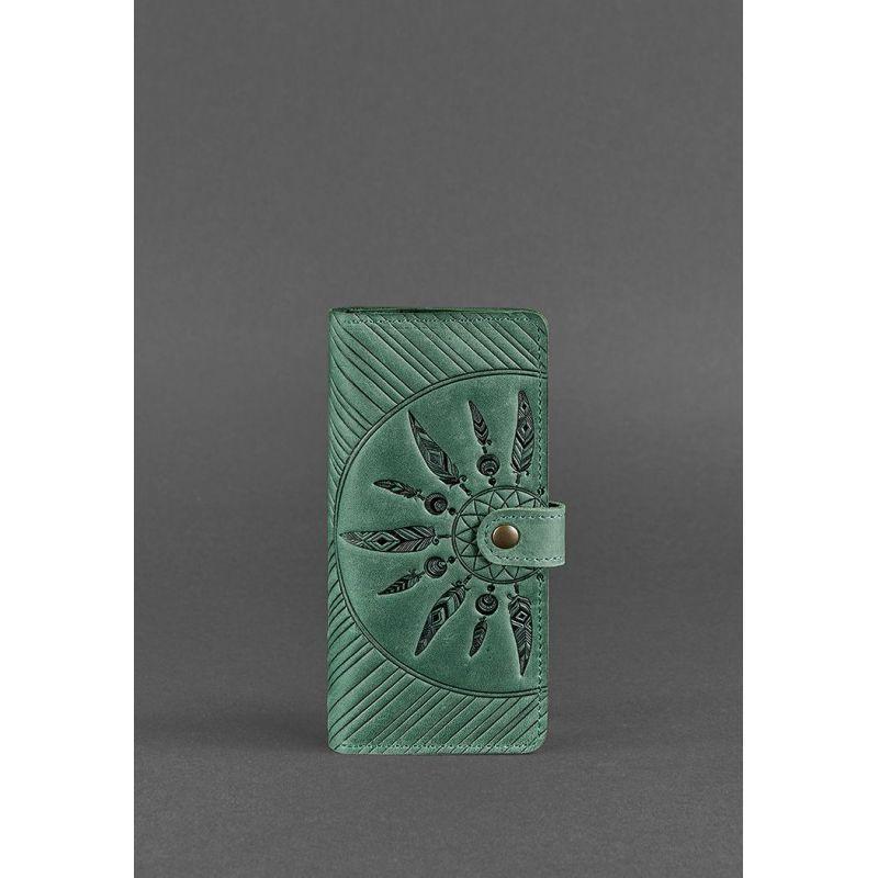 Кожаное женское зеленое портмоне 7.0 Инди