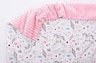 Плед в кроватку (сатин и плюш), на молнии, розовый, с единорогами, без одеяла, 80*100 см, фото 3