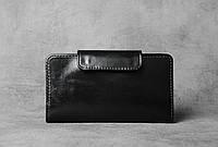 Кожаный кошелек, черный мужской кошелек, кошелек ручной работы, мужское портмоне, фото 1