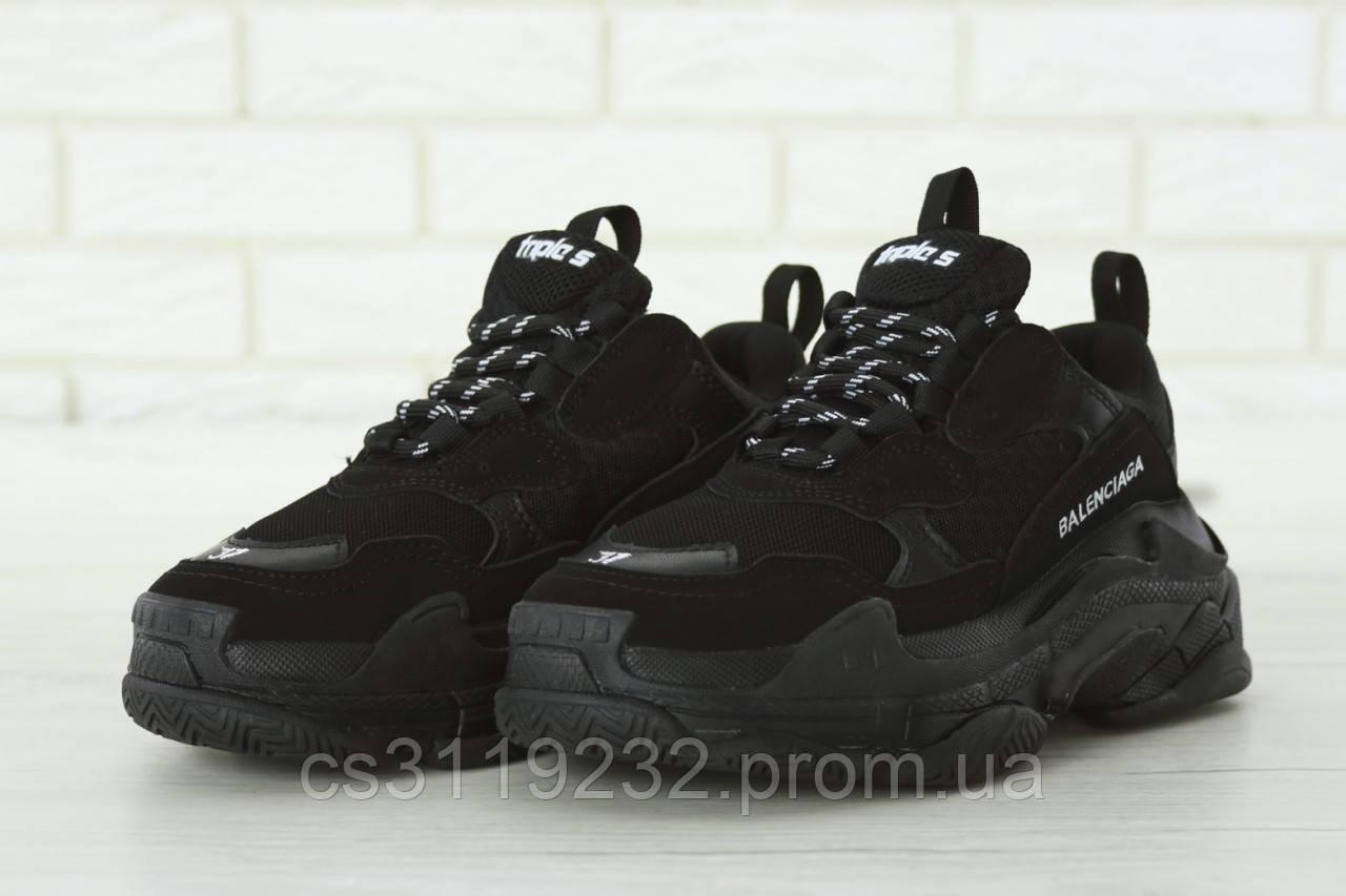 Мужские кроссовки Balenciaga Triple S Full Black (черные)