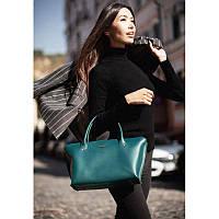 Женская кожаная сумка Midi зеленая, фото 1