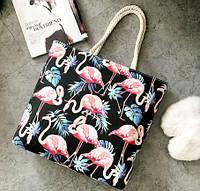 Женская сумка пляжная Flamingo black