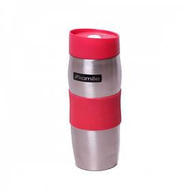 Термокружка 380 мл Kamille из нержавеющей стали TPR-накладка серебристый / красный КМ-2053