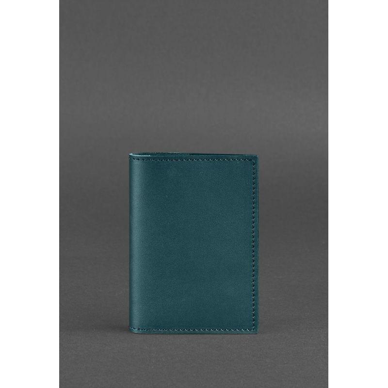 Кожаная обложка для паспорта 1.2 зеленая