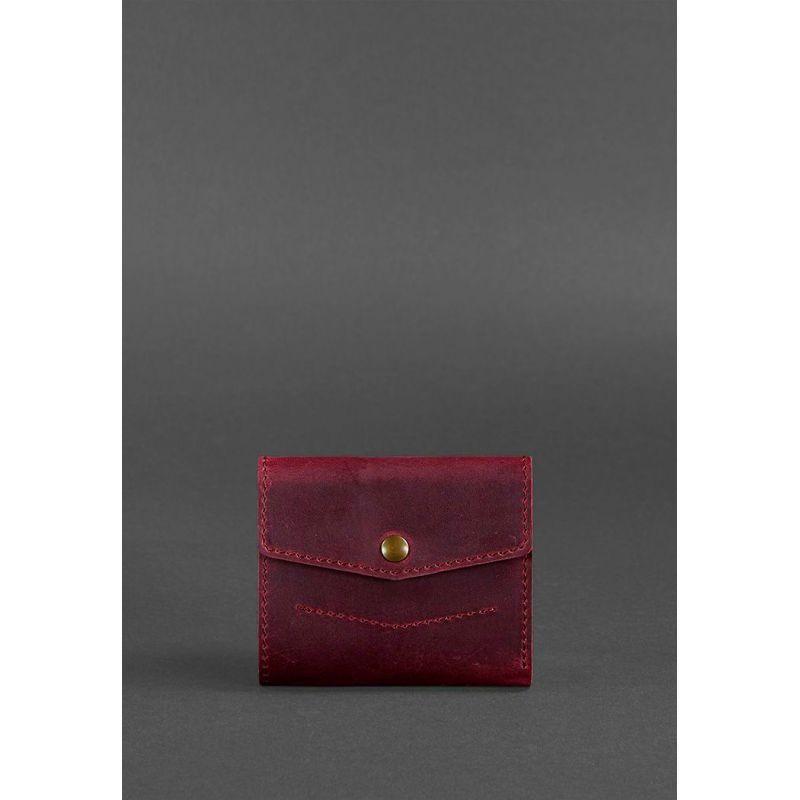 Женский кожаный кошелек 2.1 бордовый Crazy Horse
