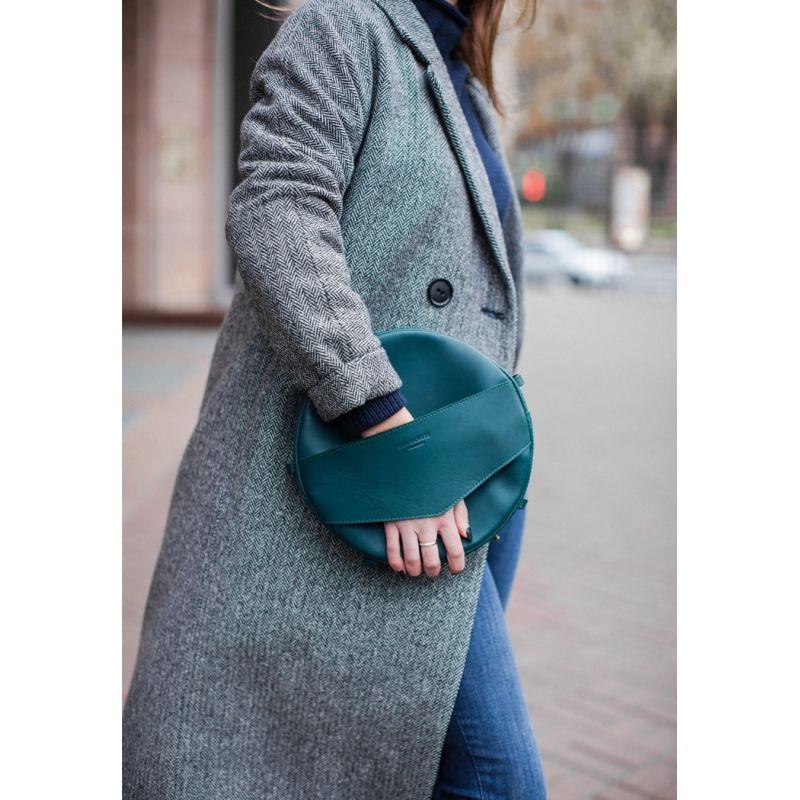 Кожаная женская круглая сумка-рюкзак Maxi зеленая