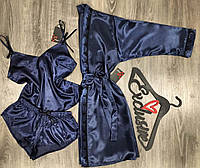Темно-синий атласный халат и пижама(майка+шорты)-комплект.