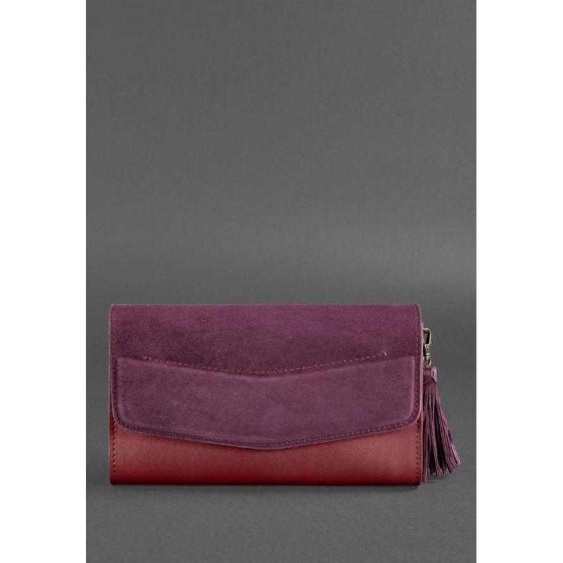 Женская кожаная сумка Элис бордовая Велюр Krast