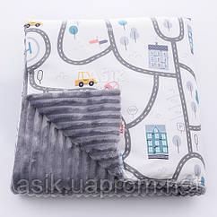 Детский плед (сатин и плюш), на молнии, с автодорогой, без одеяла, цвет серый, 80*100 см