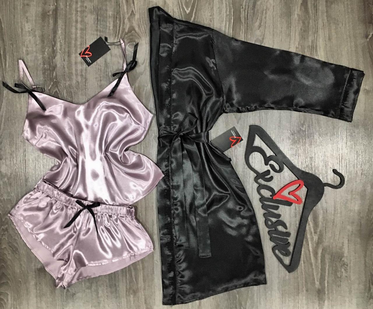 Атласный комплект  тройка халат и пижама(майка+шорты) из атласа.