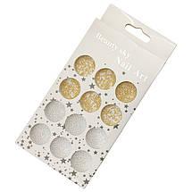 Бульонки для дизайну нігтів, золото+срібло, металеві., фото 2