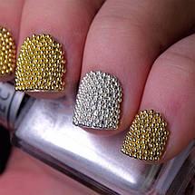 Бульонки для дизайну нігтів, золото+срібло, металеві., фото 3