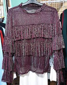 Полупрозрачная блузка с рюшами 42-44 (в расцветках)