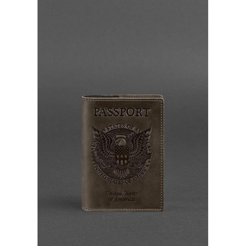 Кожаная обложка для паспорта с американским гербом темно-коричневая