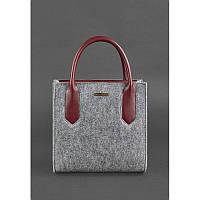 Фетровая женская сумка-кроссбоди Blackwood с кожаными бордовыми вставками, фото 1