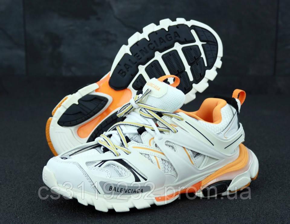 Мужские кроссовки Balenciaga Track White Orange (бело-оранжевые)