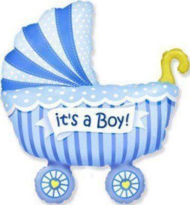 Фольгированный шар ФМ Коляска детская голубая
