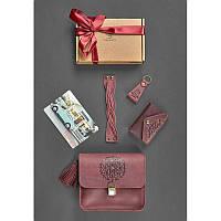 Женский подарочный набор кожаных аксессуаров Бордо crazy horse, фото 1