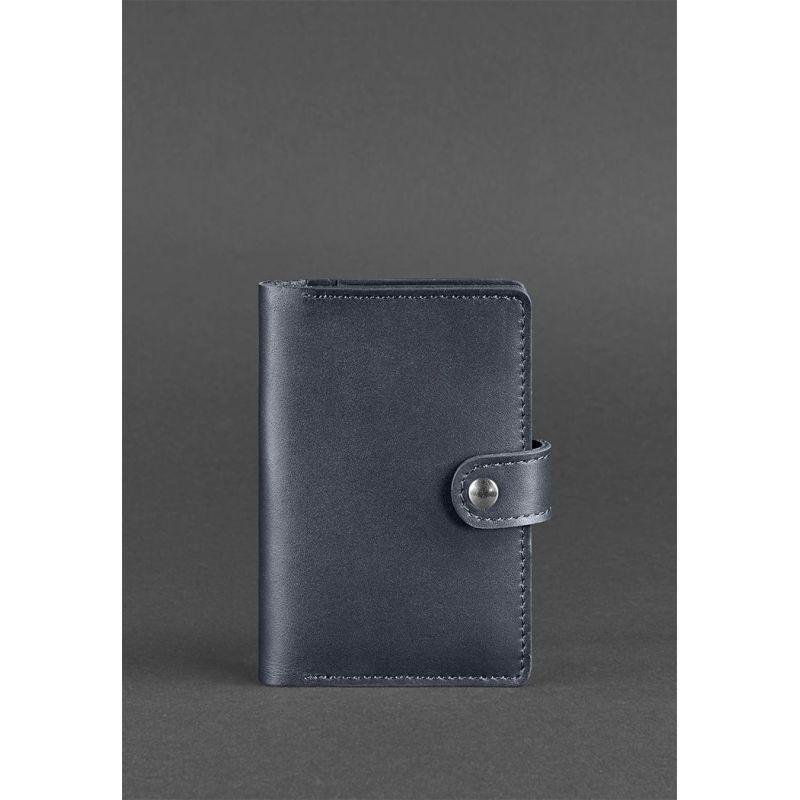 Кожаная обложка для паспорта 3.0 темно-синяя