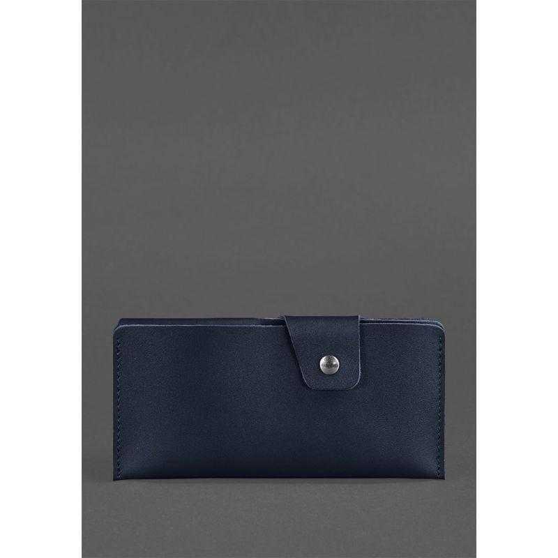 Кожаное портмоне-купюрник 8.0 темно-синее