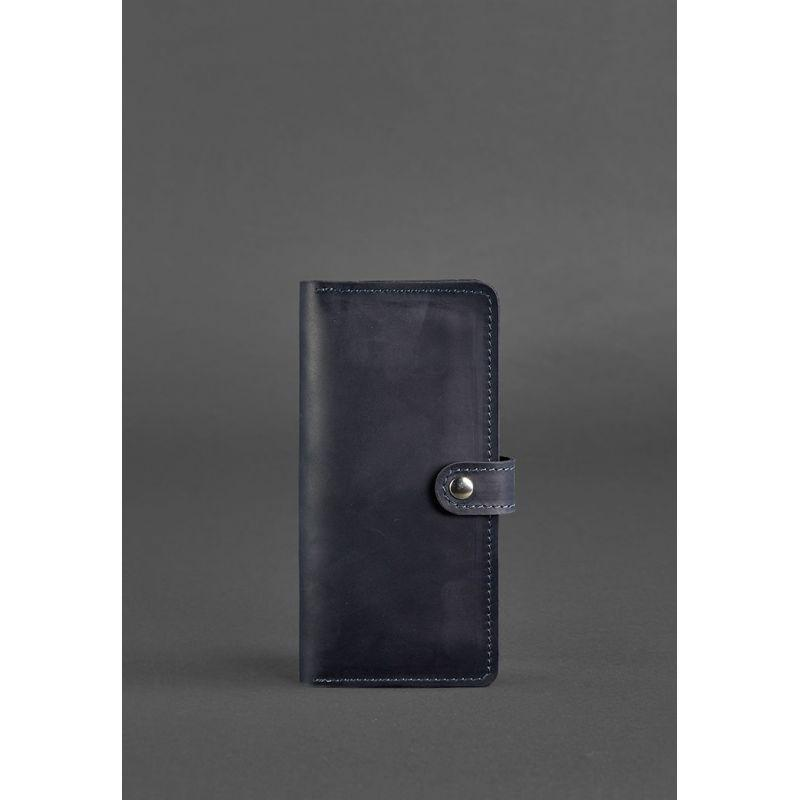 Кожаное портмоне 7.0 синее Crazy Horse