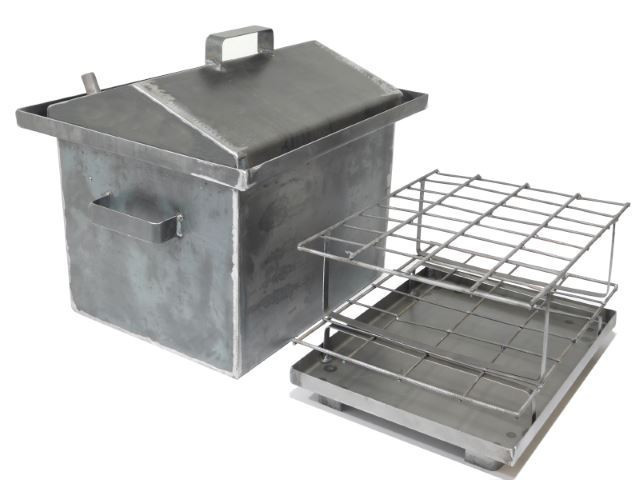 Коптильня Средняя 2,0 мм с гидрозатвором и крышкой домиком для горячего копчения (400x320x350) + термометр