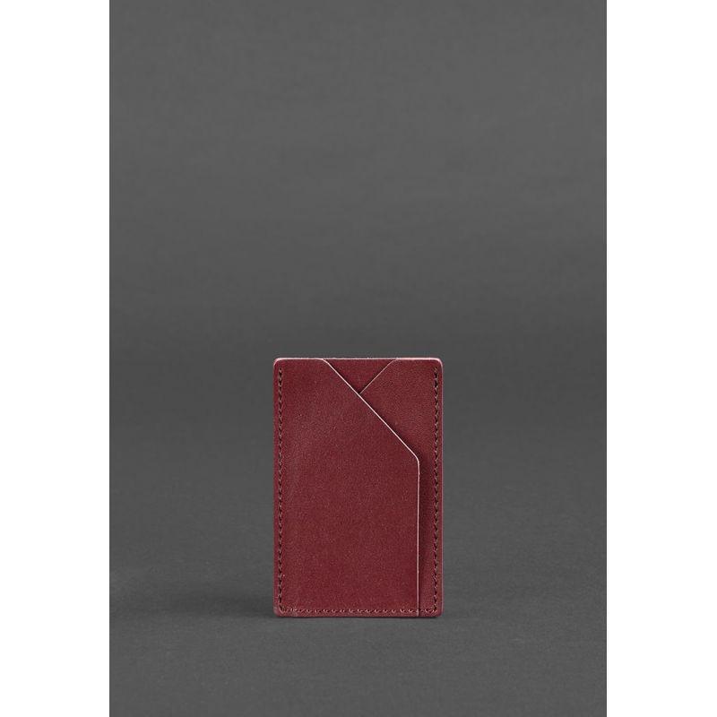 Женский кожаный кард-кейс 8.0 бордовый