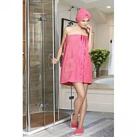 Женский банный комплект тапочки, полотенце с резинкой и липучкой, полотенце розового цвета Philippus