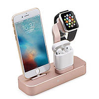 Док-станция Coteetci Base19 для iPhone/AirPods/Apple Watch (Розовое золото)