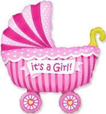 Фольгированный шар ФМ Коляска детская розовая