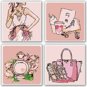 Набор картин по номерам Полиптих Розовые мечты 4шт. 18*18см. KNP015 Идейка, фото 2
